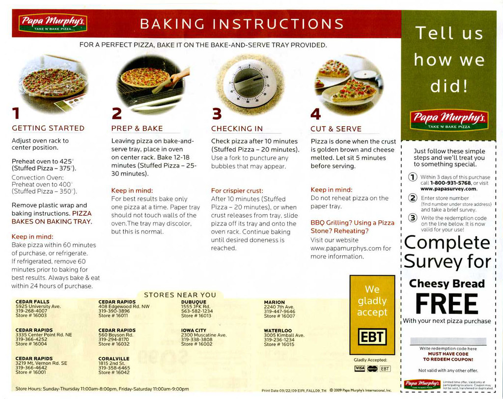 Papa Murphy S Pizza Baking Instructions Flyer Side 1