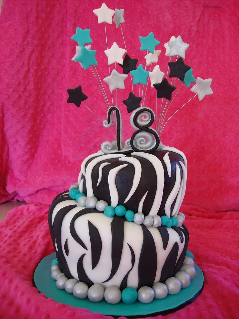 Black White And Pink Zebra Cake