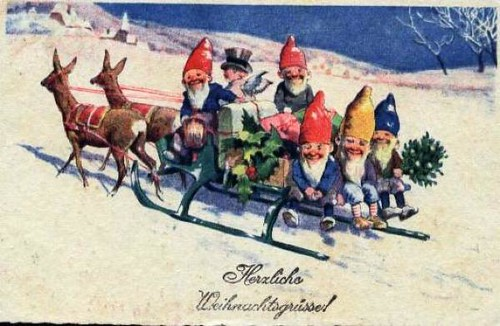 katinthecupboard gnomes on christmas sled by katinthecupboard - Christmas Sled