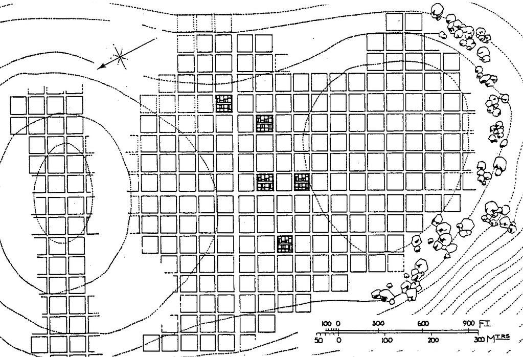 Qa586 the grid plan of the urartian town of zernaki tepe for Architecture 9 square grid
