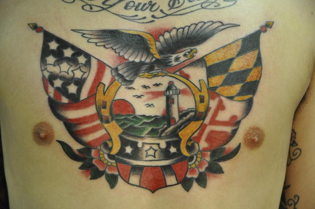 chest eagle light house traditional tattoo maryland flag flickr. Black Bedroom Furniture Sets. Home Design Ideas