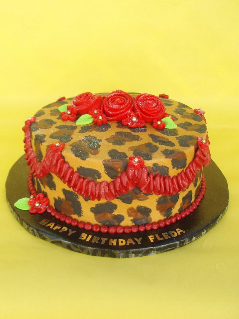 Red Leopard Print Cake