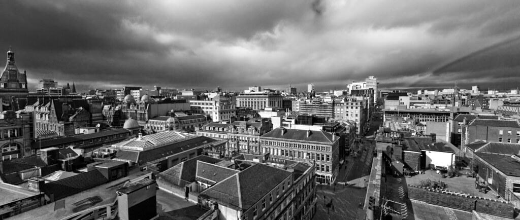 Black and white glasgow city centre panoramic view from the lighthouse by abbozzo