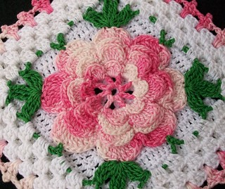 Thread Crochet Potholder with Pink Rose | by Acadian Crochet