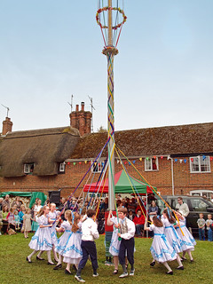 Children perform the Maypole Dance at the 2010 Downton Cuckoo Festival, Wiltshire | by Anguskirk