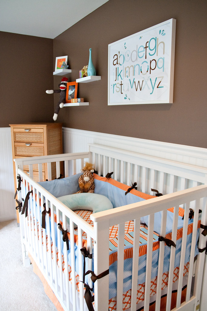 Aqua Brown Orange Boy S Nursery Design Click Here For