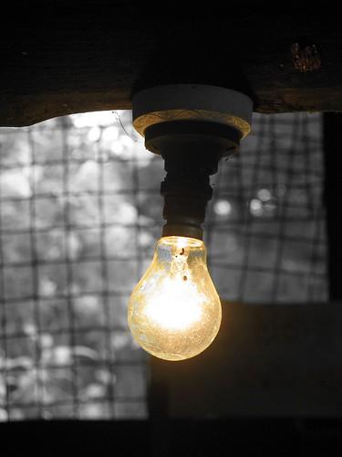 Incandescent Light Bulb in Rural Community Center