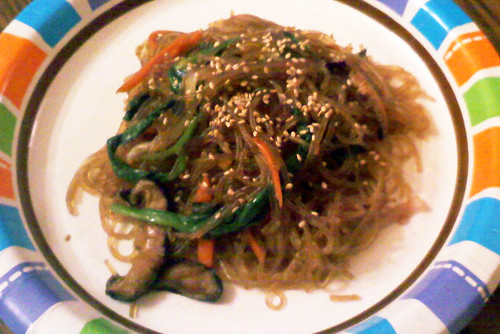 Ina Wendel's japchae (stir-fried noodles with vegetables and meat) | by maangchi