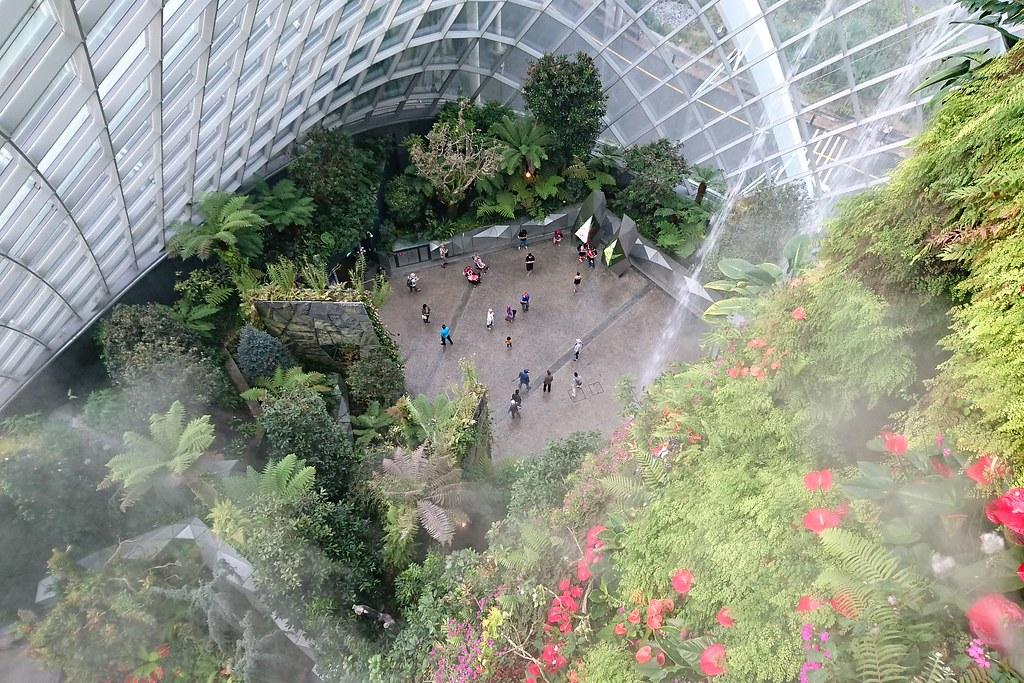 填海造陸而成的濱海灣花園內的冷室「雲霧森林」(Cloud Forest),說明森林所提供的生態系服務,以及氣候變遷。攝影:李育琴。
