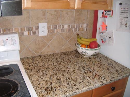 Santa Cecilia Granite With Tile Backsplash Charlotte Nc