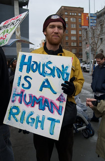 Housing protest at the San Francisco Federal Building one year after Obama's Inauguration | by Steve Rhodes