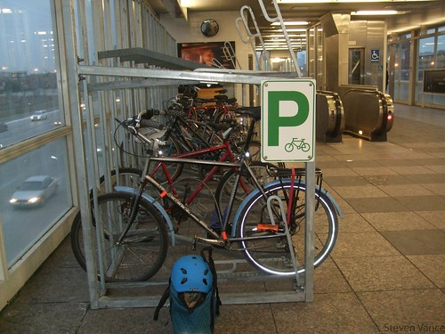 High capacity bike parking inside Sox/35th | by Steven Vance