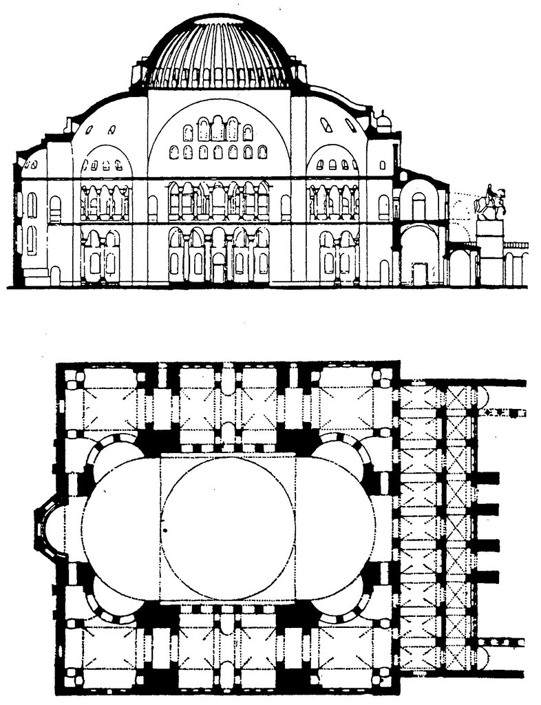 QA200 - A section and plan of the Hagia Sophia (Aya Sophia ...