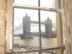 Tower Bridge through a Tower of London window