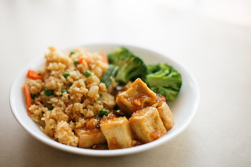 Vegan Orange Chik'n with Fried Rice and Brocolli | by wishmewell95