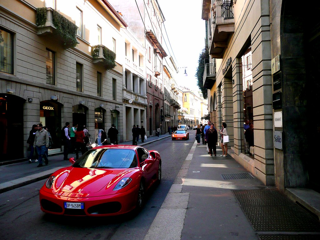 Via Montenapoleone Street View Milano A Ferrari In The