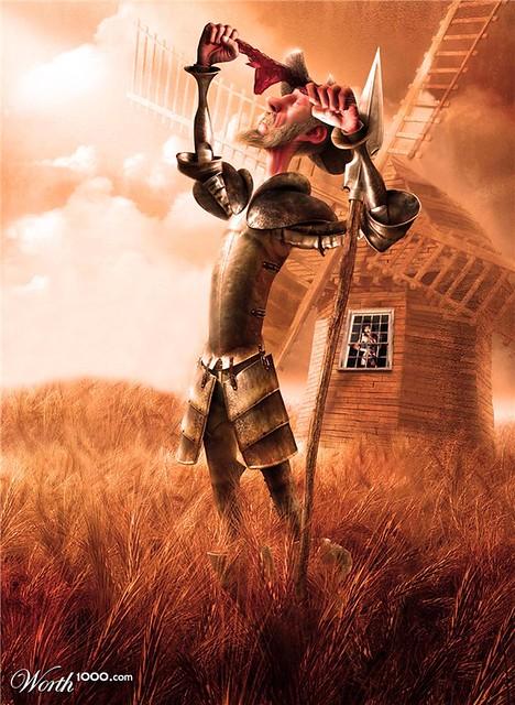 Hermoso dibujo de Don Quijote de la Mancha y su Molino de … | Flickr