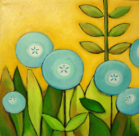 Acrylic Paintings Of Blue Flowers