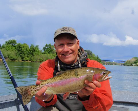Fly Fishing Guide Fred Gordon with a hefty Lower Sacramento River Rainbow