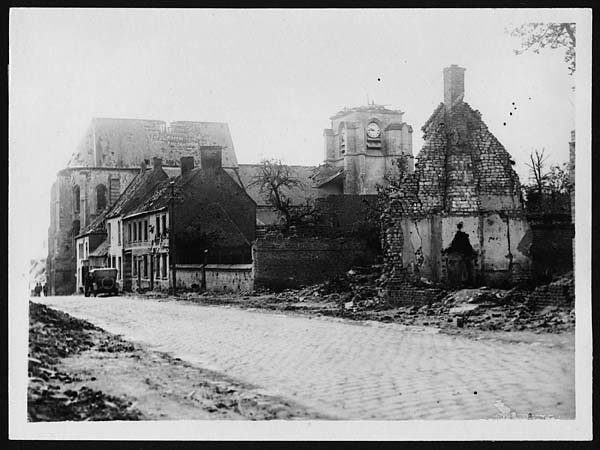 Shell Damage In The Village Of Bray France During World
