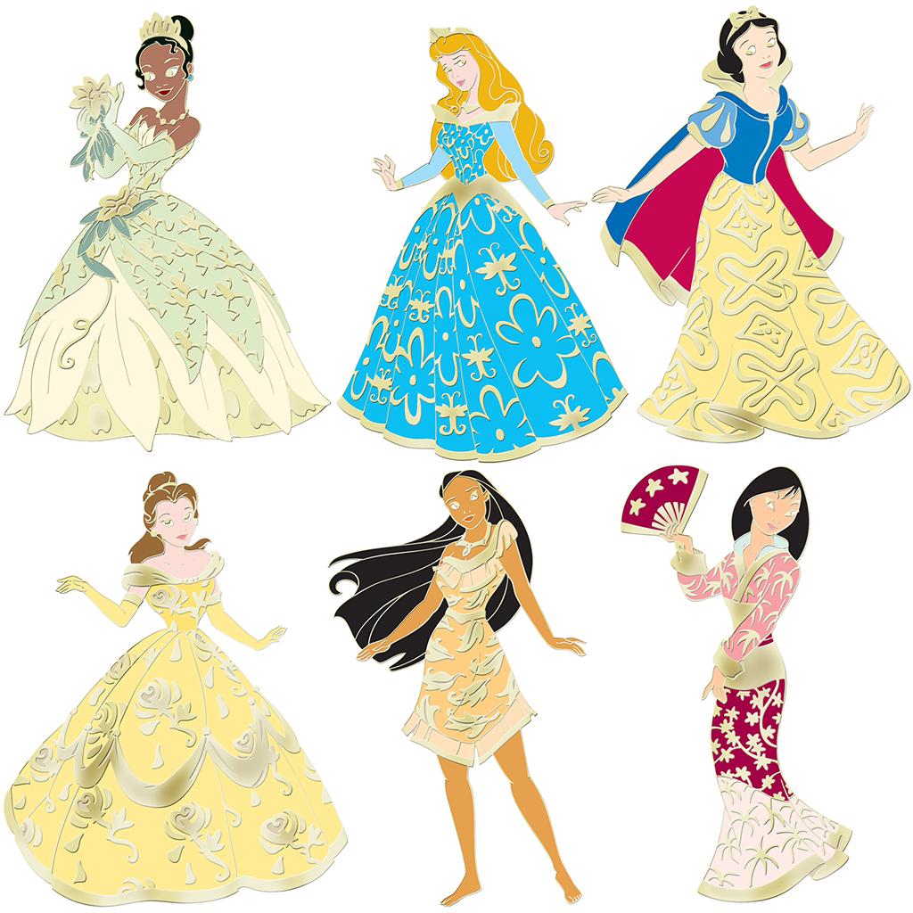 Pin Up Princess: Golden Brocade Disney Princess Pin Set