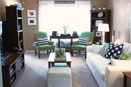 Green Navy White Living Room