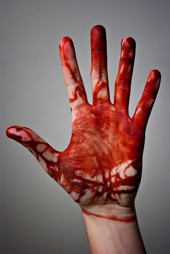 "The Bloody hand | A hand covered in ""Blood"" (food coloring ..."