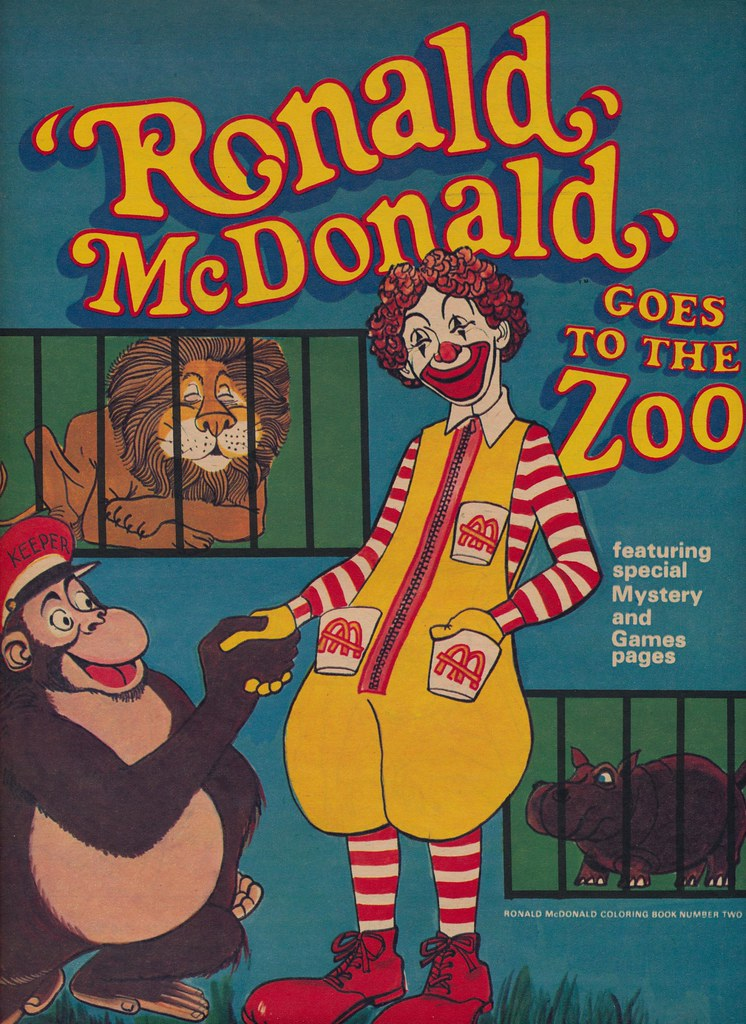 Ronald Mcdonald Goes To The Zoo Coloring Book Ronald