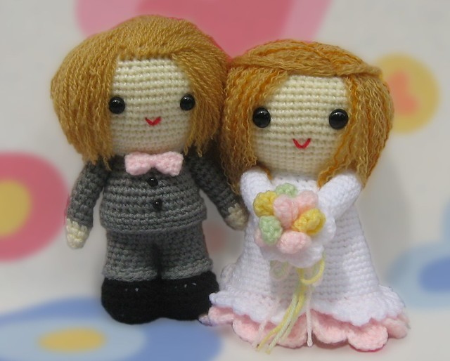 Amigurumi Free Pattern Couple : Amigurumi Wedding Couple For pattern visit kandjdolls ...