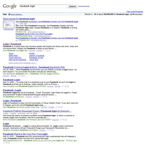 Facebook login google search flickr photo sharing