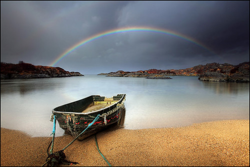Rainbow and a wee boat - Ardtoe - Scotland | by angus clyne