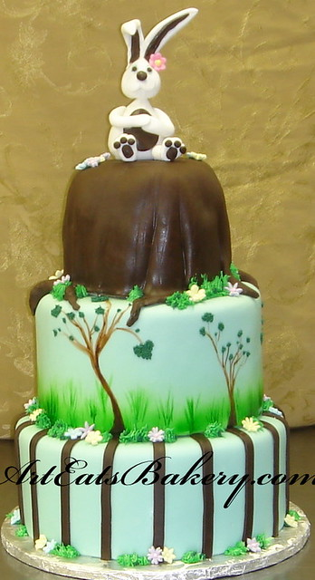 Three Tier Fondant Easter Cake With Bunny Topper Grass T