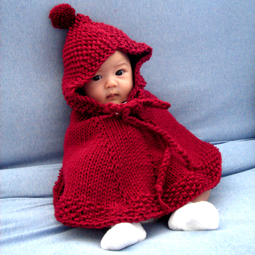 Easy Knitting Pattern For Toddler Poncho : Little red riding hood poncho Easy on, easy off poncho ...