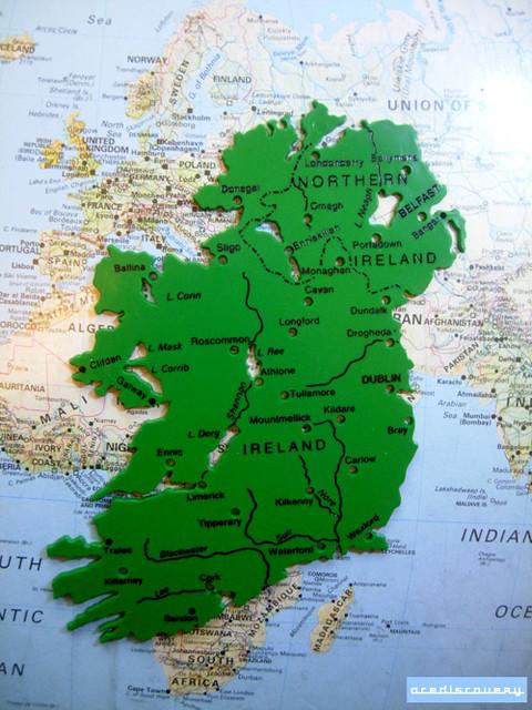 Map stencil of Ireland...