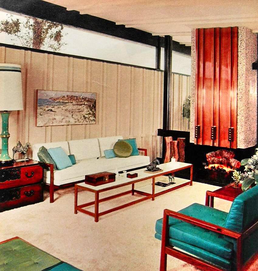 1960s modern clean lines bold color aqua white vintage int flickr for Living spaces bedroom furniture