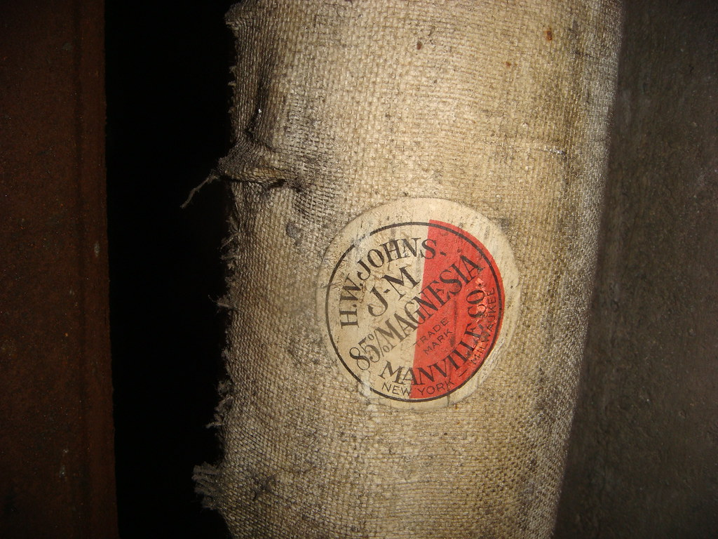 Vintage H W Johns Manville 85 Magnesia Label On Pipe