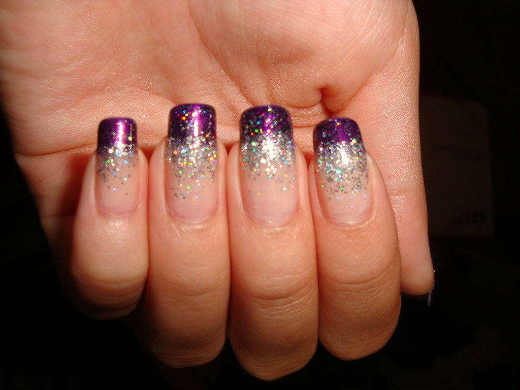 Single Line Nail Art : Purple glitter gradient tips are zoya yasmeen and the