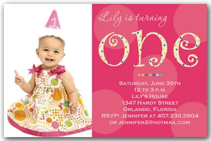 Turning One Girl Pink 1st Birthday Invitations Turning