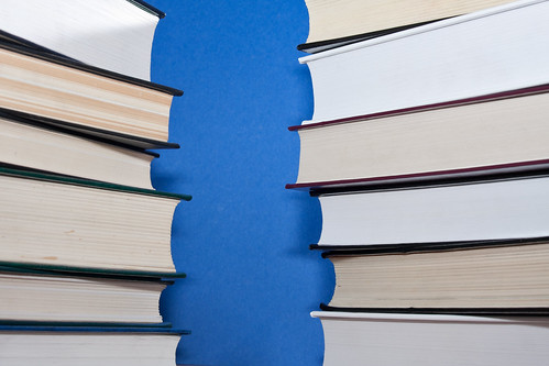 Two parallel stacks of books on blue background | by Horia Varlan