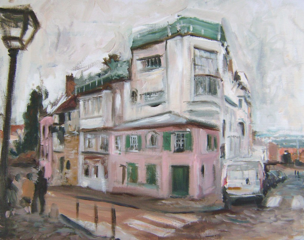 Paris cafe my painting la maison rose montmartre oil 20 for Autour de la maison rose