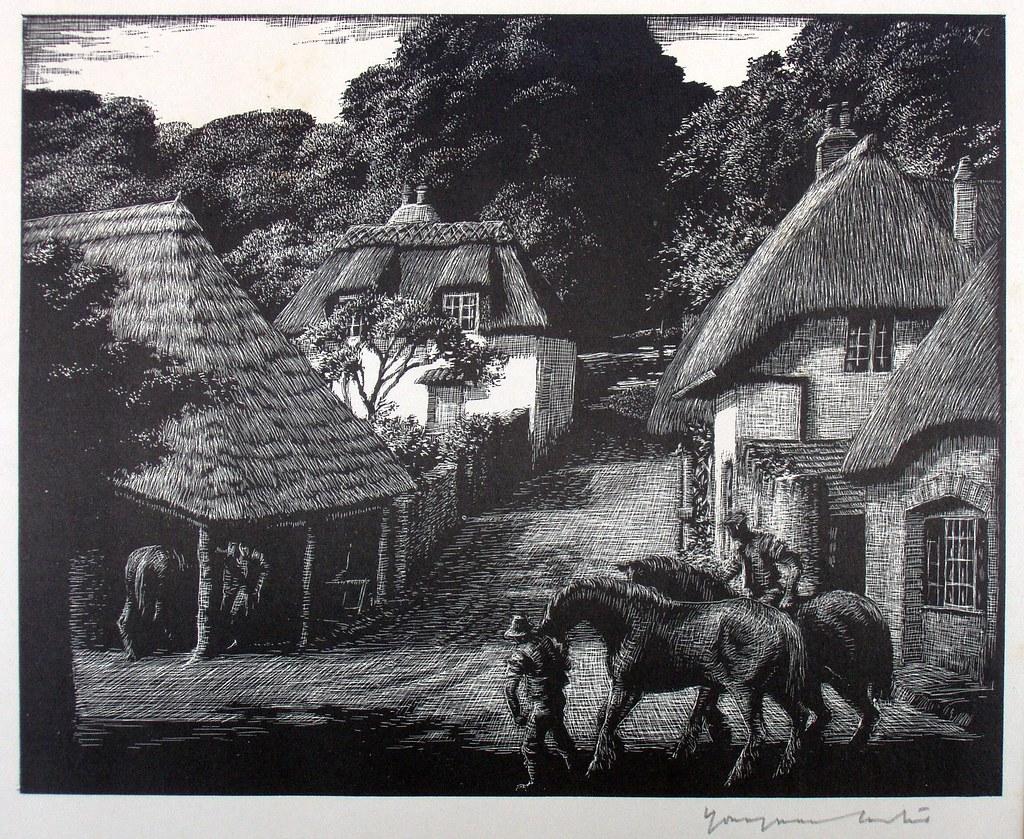 Original Signed Engraving Or Scraperboard Print By Philip