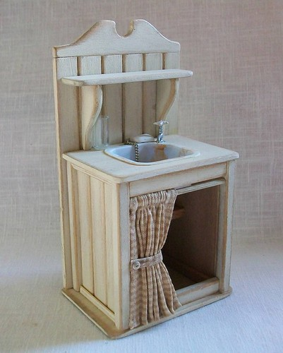 white sink 1 dollhouse scale. Black Bedroom Furniture Sets. Home Design Ideas