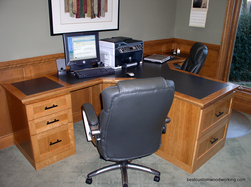 Custom Cherry Partner Desk Two Person Black Formica