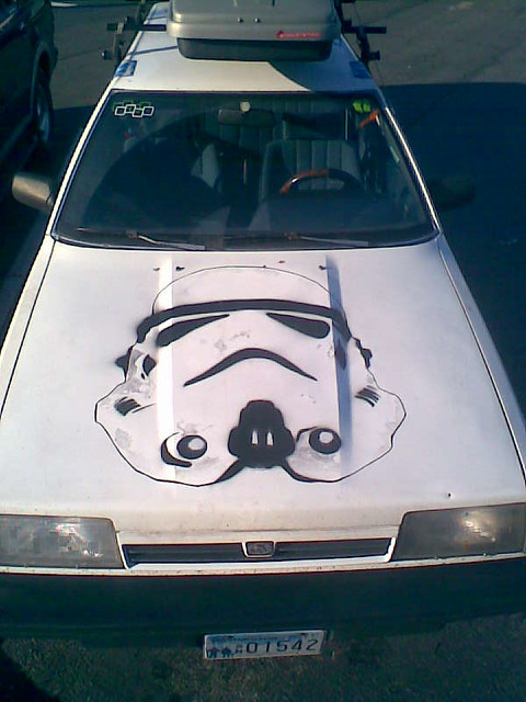 stormtrooper car found in a parking lot off of nw 85th. Black Bedroom Furniture Sets. Home Design Ideas