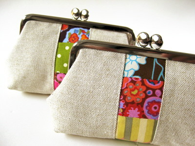 linen patchwork pouches | by oktak_ny