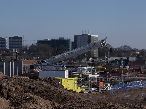 Construction site at Longbridge - crane - the future new Bournville College | by ell brown