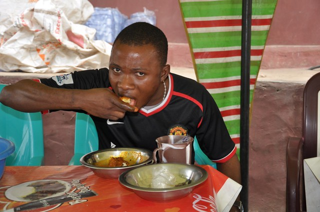 Man Eating Pounded Yam In A Canteen Man Eating Pounded