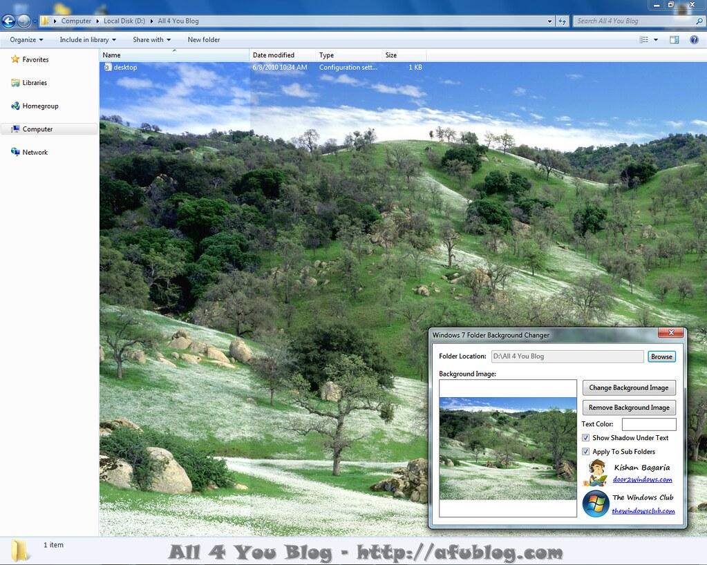 windows 7 folder background changer screenshot windows 7