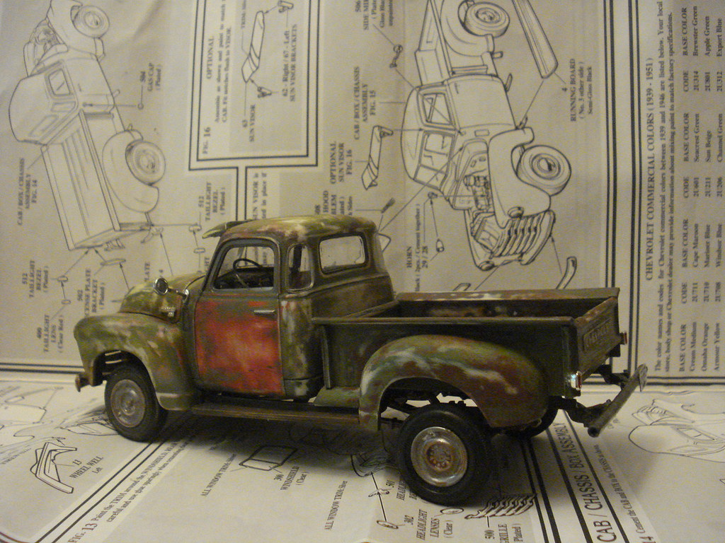 New Chevy Truck >> 1950 Chevy Beat-Up Pickup Truck   1:24th scale model kit   Flickr