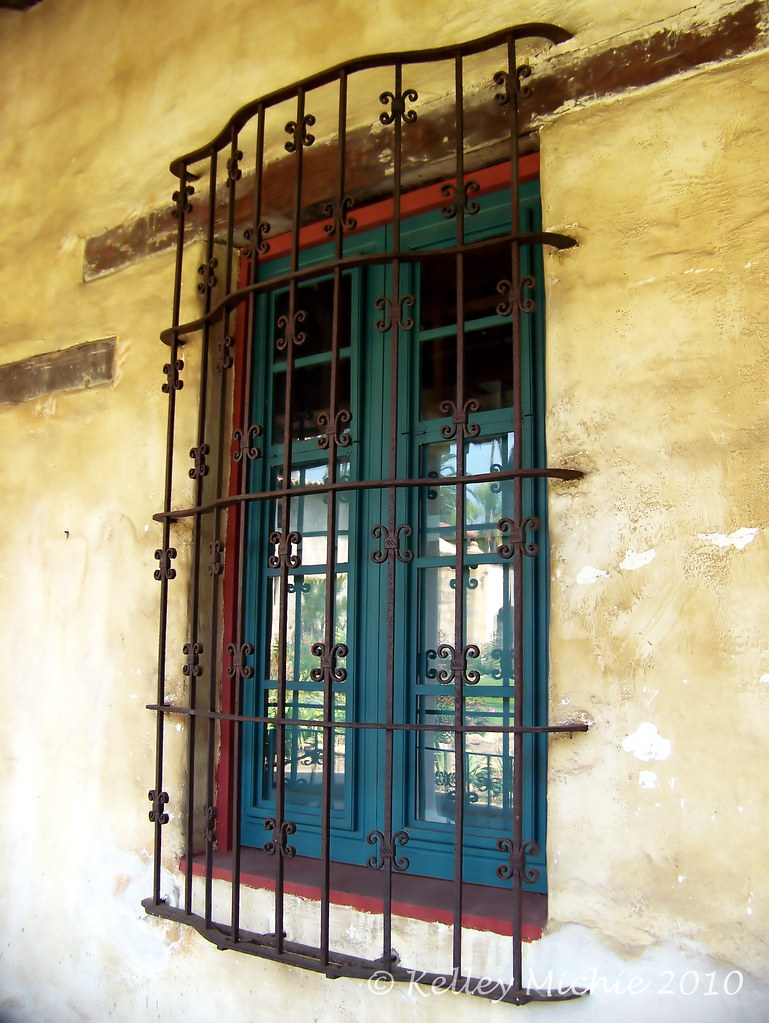 Wrought iron window grill exterior with